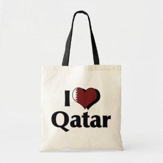 I Love Qatar Flag Budget Tote Bag