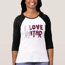 I Love Qatar Flag Colors Heart Typography T-Shirt