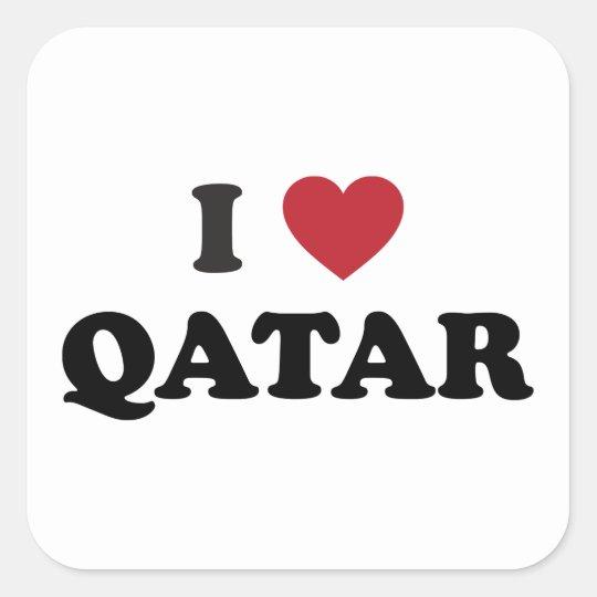 I Love Qatar Square Sticker