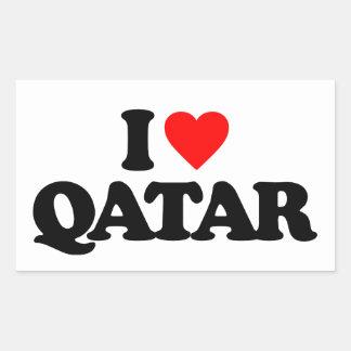I LOVE QATAR RECTANGLE STICKER