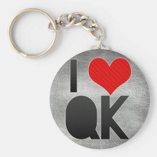 I Love QK Basic Round Button Keychain