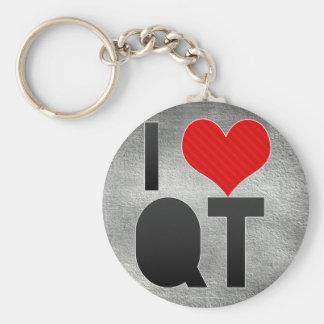I Love QT Basic Round Button Keychain
