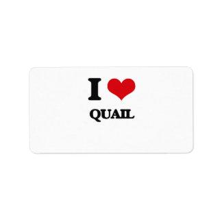 I Love Quail Address Label