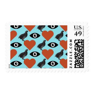 I Love Quails Postage Stamp