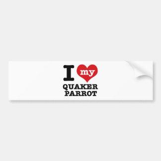 I Love quaker parrot Car Bumper Sticker