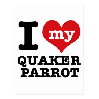 I Love quaker parrot Postcard