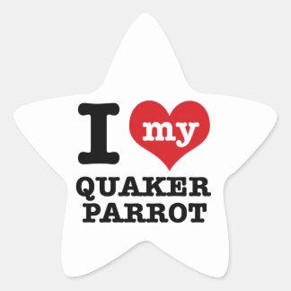 I Love quaker parrot Star Sticker