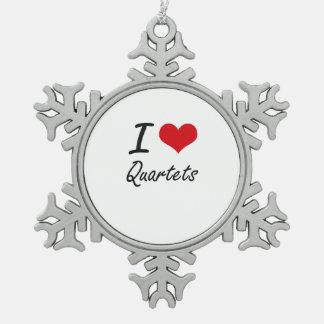 I Love Quartets Snowflake Pewter Christmas Ornament