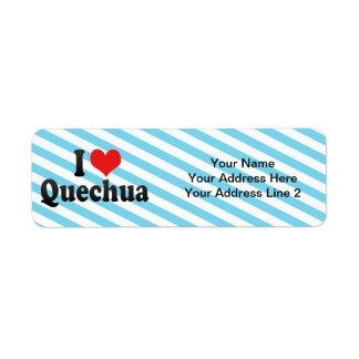 I Love Quechua Return Address Label