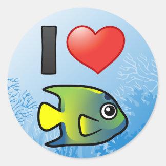 I Love Queen Angelfish Round Stickers
