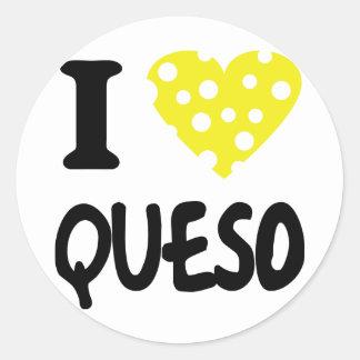 I love queso icon classic round sticker