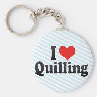 I Love Quilling Keychain