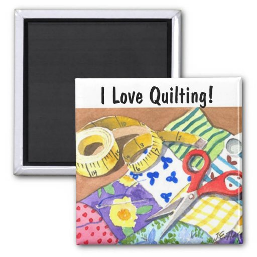 I Love Quilting 2 Inch Square Magnet