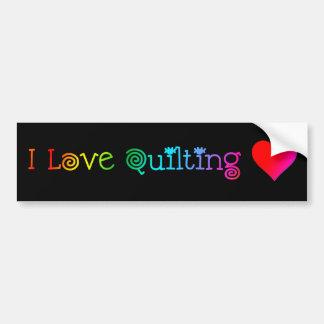 I Love Quilting Bumper Sticker Car Bumper Sticker