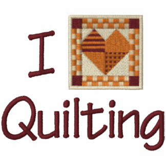 I Love Quilting Embroidered Hooded Sweatshirt