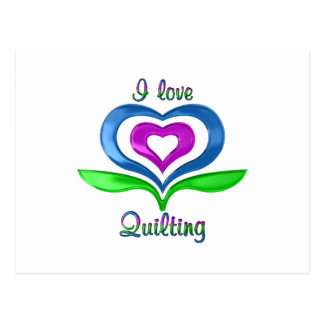 I Love Quilting Hearts Postcard