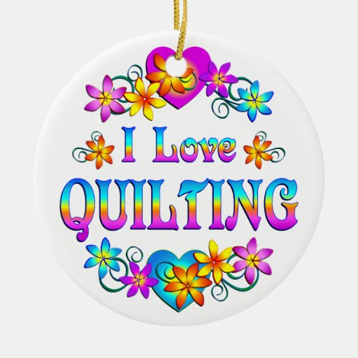 I Love Quilting Double-Sided Ceramic Round Christmas Ornament
