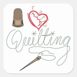 I Love Quilting Square Sticker