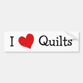 I Love Quilts Car Bumper Sticker