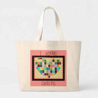 I LOVE QUILTS HEART DESIGN BAG