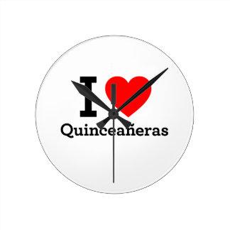 I Love Quinceaneras Round Clocks