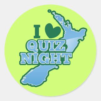 I love Quiz night! New Zealand map Classic Round Sticker