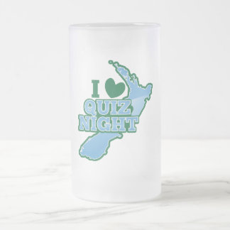 I love Quiz night! New Zealand map Frosted Glass Beer Mug