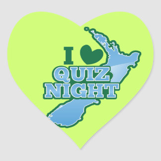 I love Quiz night! New Zealand map Heart Sticker