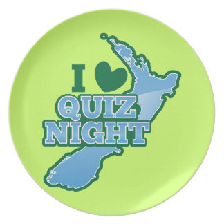I love Quiz night! New Zealand map Plate