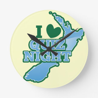 I love Quiz night! New Zealand map Round Clock