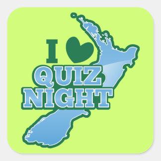 I love Quiz night! New Zealand map Square Sticker