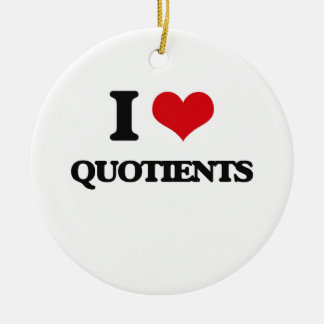 I Love Quotients Double-Sided Ceramic Round Christmas Ornament