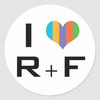 I love R+F Pegatina Redonda