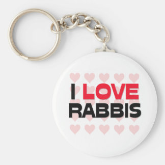 I LOVE RABBIS BASIC ROUND BUTTON KEYCHAIN