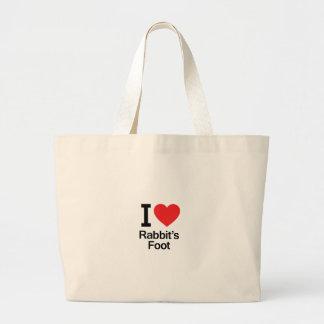 I Love Rabbit s Foot Tote Bags