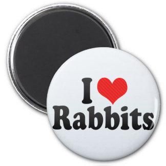 I Love Rabbits 2 Inch Round Magnet