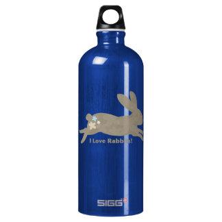 I Love Rabbits Aluminum Water Bottle