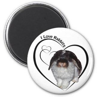 I Love Rabbits Badge Magnet