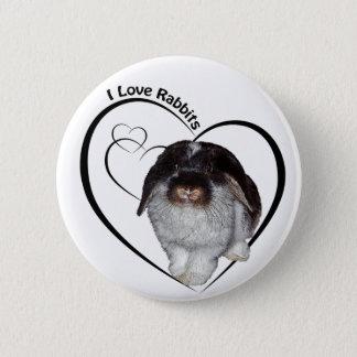 I Love Rabbits Badge Pinback Button