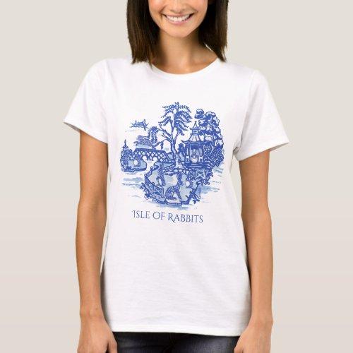 I Love Rabbits Blue White Willow Island Fun Pretty T_Shirt