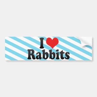 I Love Rabbits Car Bumper Sticker