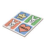 I Love Rabbits Ceramic Tiles