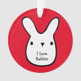 I Love Rabbits (customizable) Ornament