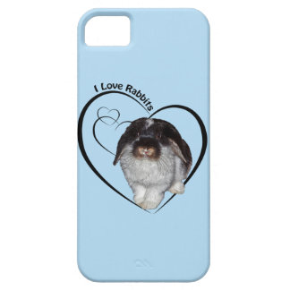I Love Rabbits iPhone 5 Case (Light Blue)