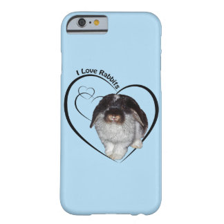 I Love Rabbits iPhone 6 Case (Light Blue)