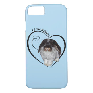I Love Rabbits iPhone 7 Case (Light Blue)