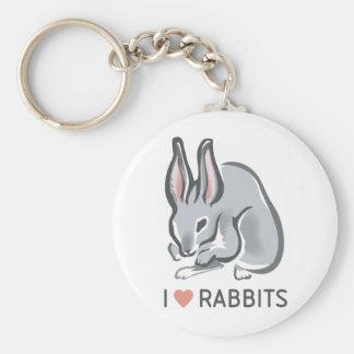 I Love Rabbits Basic Round Button Keychain