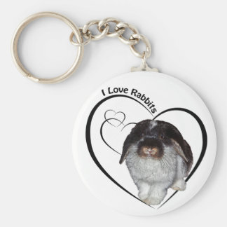 I Love Rabbits Keyring