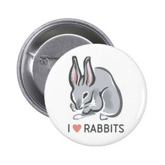 I Love Rabbits Pinback Button