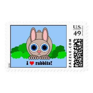 I love rabbits postage stamps